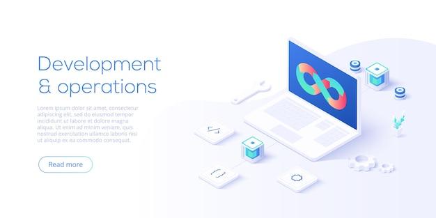 Concept de développement web au design plat