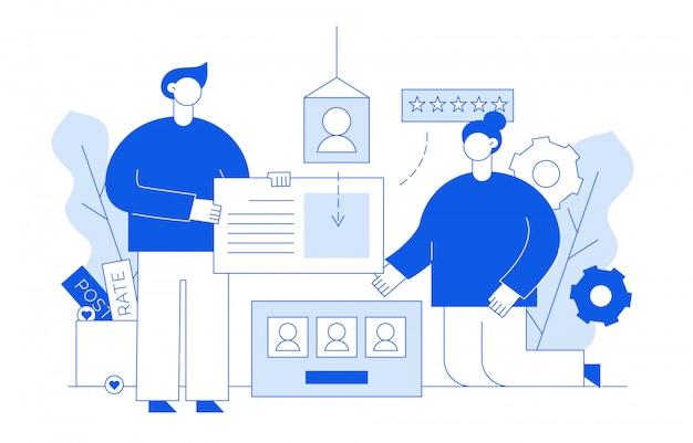 Concept de développement web et de médias sociaux