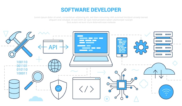 Concept de développeur de logiciel avec modèle de jeu d'icônes avec style de couleur bleu moderne