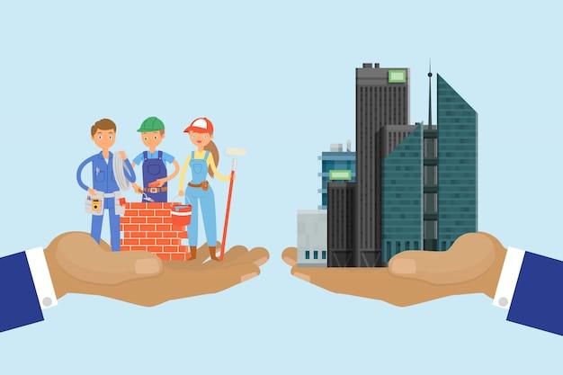 Concept de développeurs bulding, illustration de gratte-ciel. homme d'affaires de main de haut bâtiment en costume.