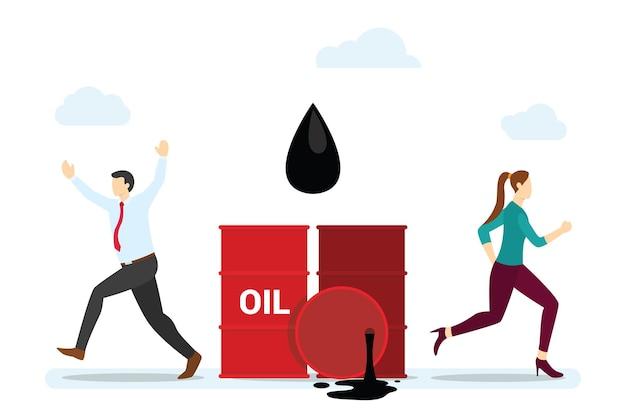 Concept de déversement de pétrole avec des gens qui font peur avec un style plat moderne