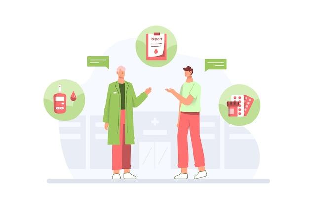 Concept de diabète avec un médecin donnant des conseils au patient dans un design plat