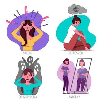 Concept de différents troubles mentaux