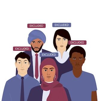 Concept de discrimination d'origine nationale ou bannière publicitaire. groupe