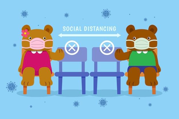 Concept de distance sociale avec des animaux mignons