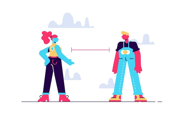 Concept de distance sociale épidémie de coronavirus deux personnages portant des masques faciaux