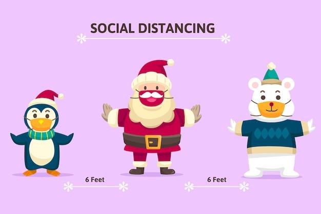 Concept de distance sociale avec des personnages de noël