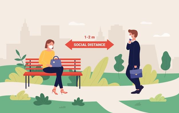 Concept de distance sociale en plein air