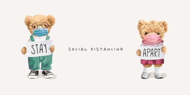 Concept de distance sociale avec une poupée d'ours dans un masque facial tenant une illustration vectorielle de signe de rester à l'écart