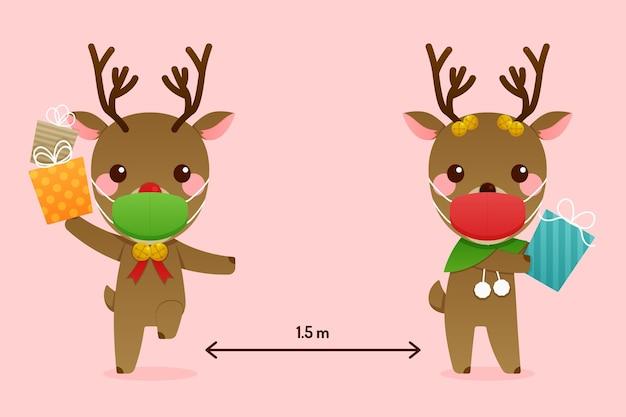 Concept de distance sociale avec des rennes de noël