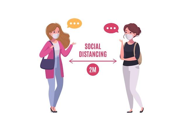 Concept de distanciation sociale avec deux personnes masquées se saluant illustration de dessin animé