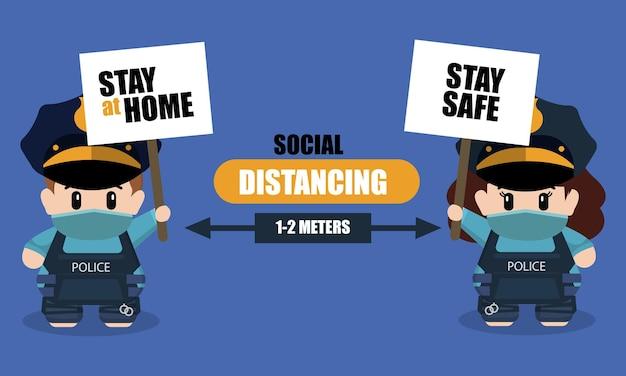 Concept de distanciation sociale avec des personnages policiers mignons