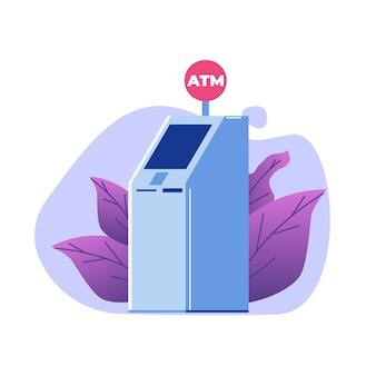 Concept de distributeur automatique de billets de banque atm. illustration de style plat de vecteur.