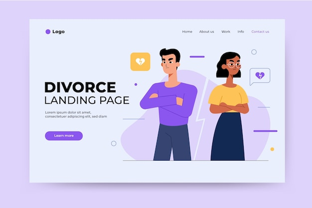 Concept de divorce atterrissant pagemarr