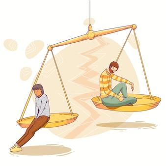 Concept de divorce avec échelle