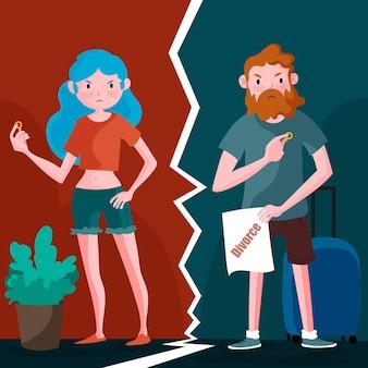 Concept de divorce illustré