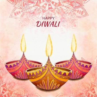 Concept de diwali aquarelle