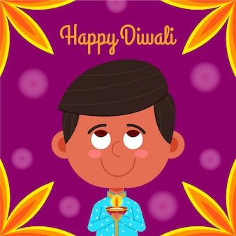 Concept de diwali dessiné à la main