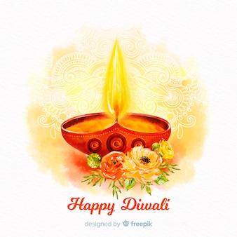 Concept diwali avec fond aquarelle