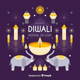 Concept de diwali avec fond design plat