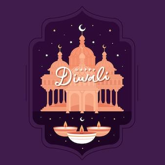 Concept de diwali heureux au design plat