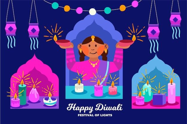 Concept de diwali heureux dessiné à la main