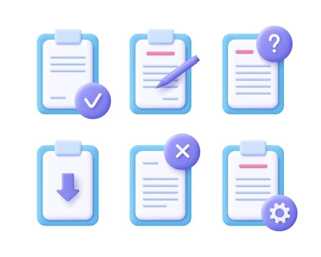 Concept de document de fichier - jeu d'icônes réaliste. illustration 3d.