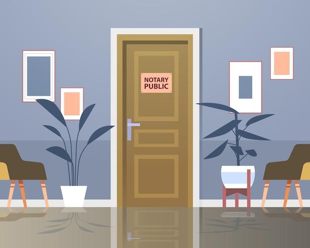 Concept de documents de signature et de légalisation de porte de notaire public horizontal
