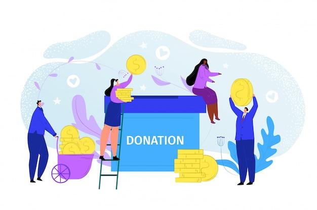 Concept de don d'argent de charité, illustration d'aide de don. le caractère des gens donne des finances communautaires dans une boîte pour les soins. bannière de soutien de pièces de monnaie sociale, fonds de dessin animé de partage de bénévoles.