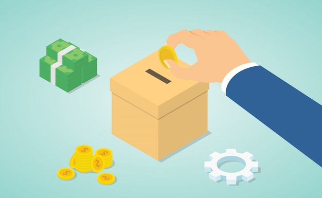 Concept de don avec la main donner de l'argent pour faire un don avec de l'argent et une boîte de dons avec style plat moderne isométrique