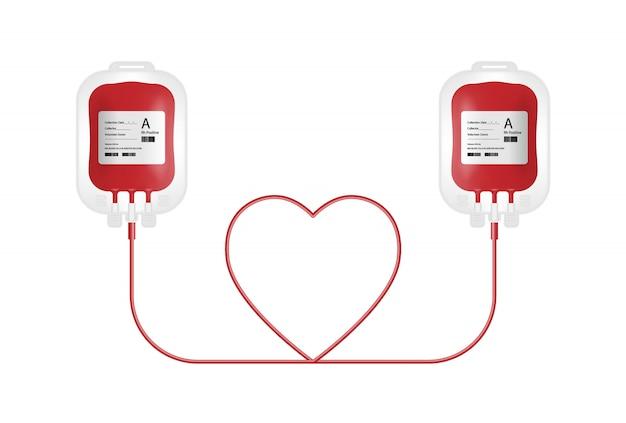 Concept de don de sang, poche de sang isolé sur fond blanc