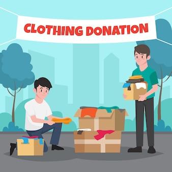 Concept de don de vêtements design plat
