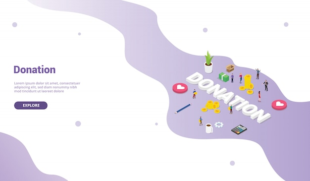 Le concept de donation avec les membres de l'équipe donne de l'argent ou partage pour le modèle de site web page d'accueil moderne
