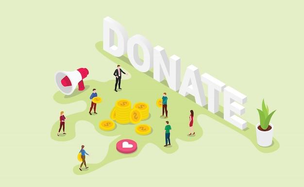 Concept de donation avec des membres de l'équipe donne de l'argent ou partage avec un style isométrique moderne