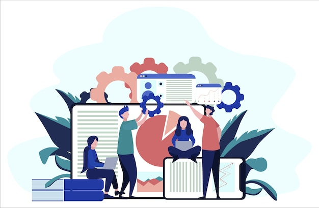 Concept de données volumineuses. technologie informatique moderne. analyser les informations numériques sur internet et prendre de meilleures décisions commerciales. illustration