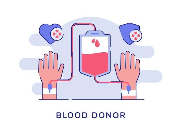 Concept de donneur de sang isolé sur blanc