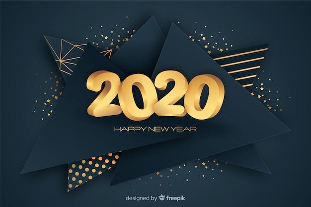 Concept doré du nouvel an 2020