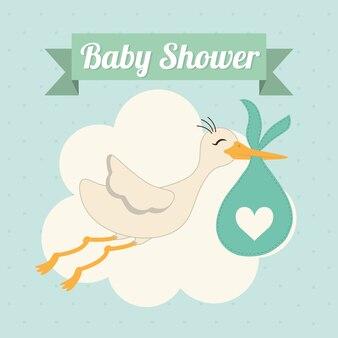 Concept de douche de bébé représenté par l'icône de la cigogne