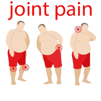 Concept de douleur aux articulations et à la colonne vertébrale un gros homme obèse souffre de douleurs aux genoux dos bas du dos