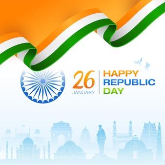 Concept de drapeau indien jour de la république fond de monuments indiens