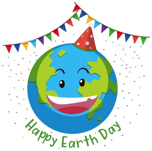 Concept de drapeau jour de la terre heureuse