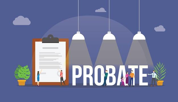 Concept De Droit D'homologation Avec Document Papier Et Personnes Autour D'un Vecteur De Style Plat Moderne Vecteur Premium