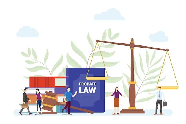 Concept de droit d'homologation avec des personnes et une échelle de marteau avec un vecteur de style plat moderne