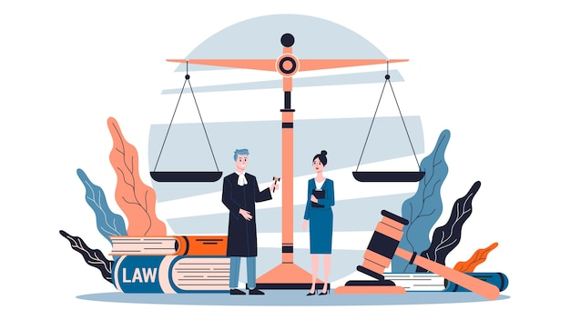 Concept de droit. idée de justice, de tribunal et d'avocat.