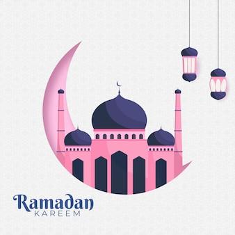 Concept du mois sacré du ramadan kareem avec des lanternes suspendues, un croissant de lune et une mosquée.