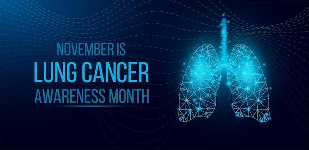 Concept du mois de sensibilisation au cancer du poumon. modèle de bannière avec des poumons filaires low poly brillants. isolé sur fond sombre. illustration vectorielle.