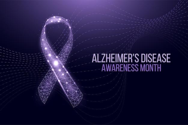 Concept du mois de sensibilisation à la maladie d'alzheimer. modèle de bannière avec ruban violet et texte. illustration vectorielle.