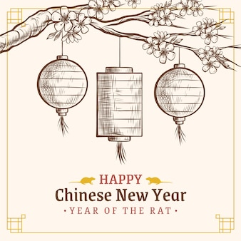 Concept du nouvel an chinois dessiné à la main