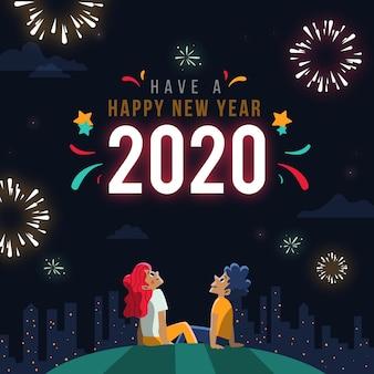 Concept du nouvel an dessiné à la main
