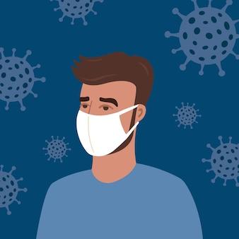 Concept du portrait de l'homme dans un masque de protection blanc avec virus. coronavirus (covid-19.